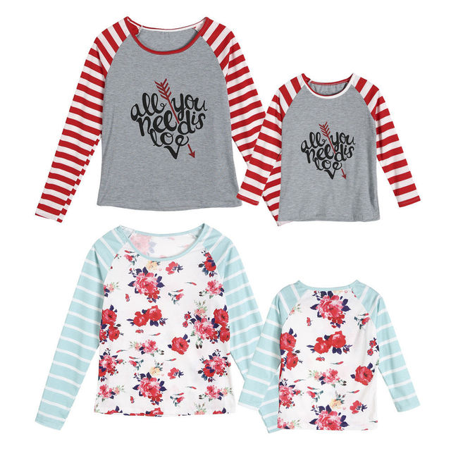 9fcc3a407c 2019 Spring Couple T-Shirt Mother Daughter Floral Matching Shirts Family  Clothes Love Valentine Striped Tee Tops Clothing
