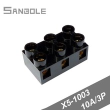 Fixed Type Base Connection X5-1003(JX5-1003) 10A/3P 600V Terminal Block Black Dual Row (50PCS)