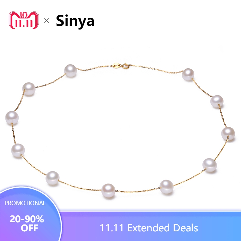 Sinya Trendy 18k AU750 gold necklace freshwater pearls star family design choker fine jewelry for women Mum lover girls in party sinya real diamond southsea golden pearl pendant 18k gold necklace choker include au750 gold chains for women mum girls gift