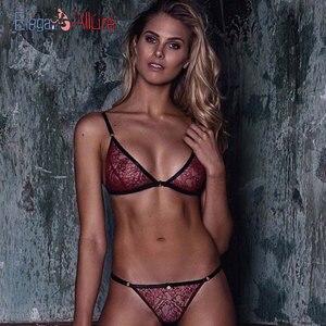 Image 1 - Sutiã de renda sexy conjunto sem costura bralette lingerie erótica feminino calcinha transparente sutiã íntimo roupa interior
