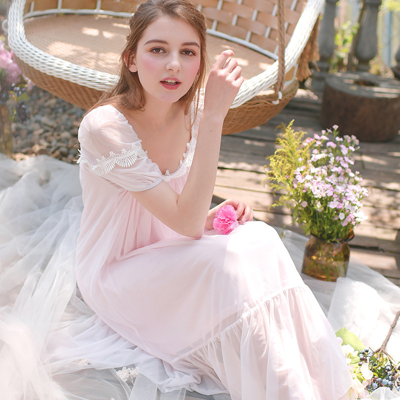 1451128f9a2a Summer Women Nightgown Puff Sleeve Lace Princess Dresses Sleepwear Lolita  White Pink Purple Short Sleeved Cotton