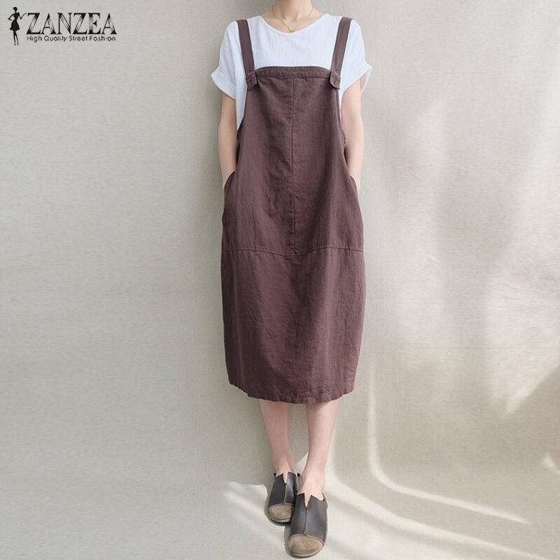 ZANZEA 2018 Frauen Kaftan Kleid Sleeveless Bib Solide Baumwolle Leinen Hosenträger Vestido Vintage Beiläufige Lose Taschen Overalls Kleid