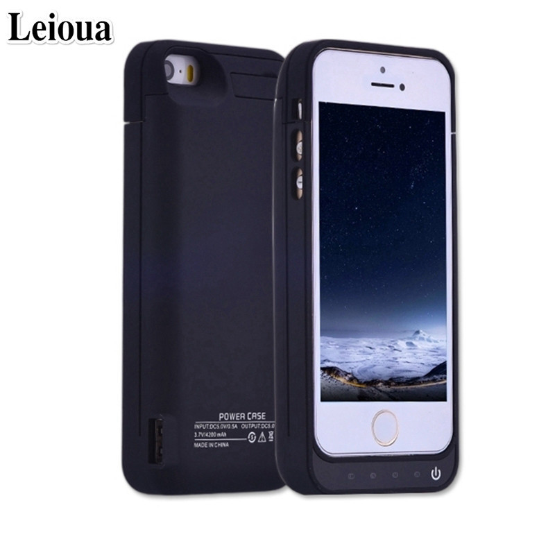 Leioua For Iphone 5 5c 5s Se Battery Case 4200mah Cover Case With Battery Best External