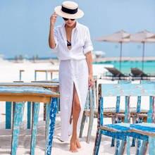 נשים קפטן חוף כיסוי למעלה שקוף ארוך שיפון ביקיני חוף טוניקת שמלה נשי לבן וחוף Pareo כפתור Robe דה Plage