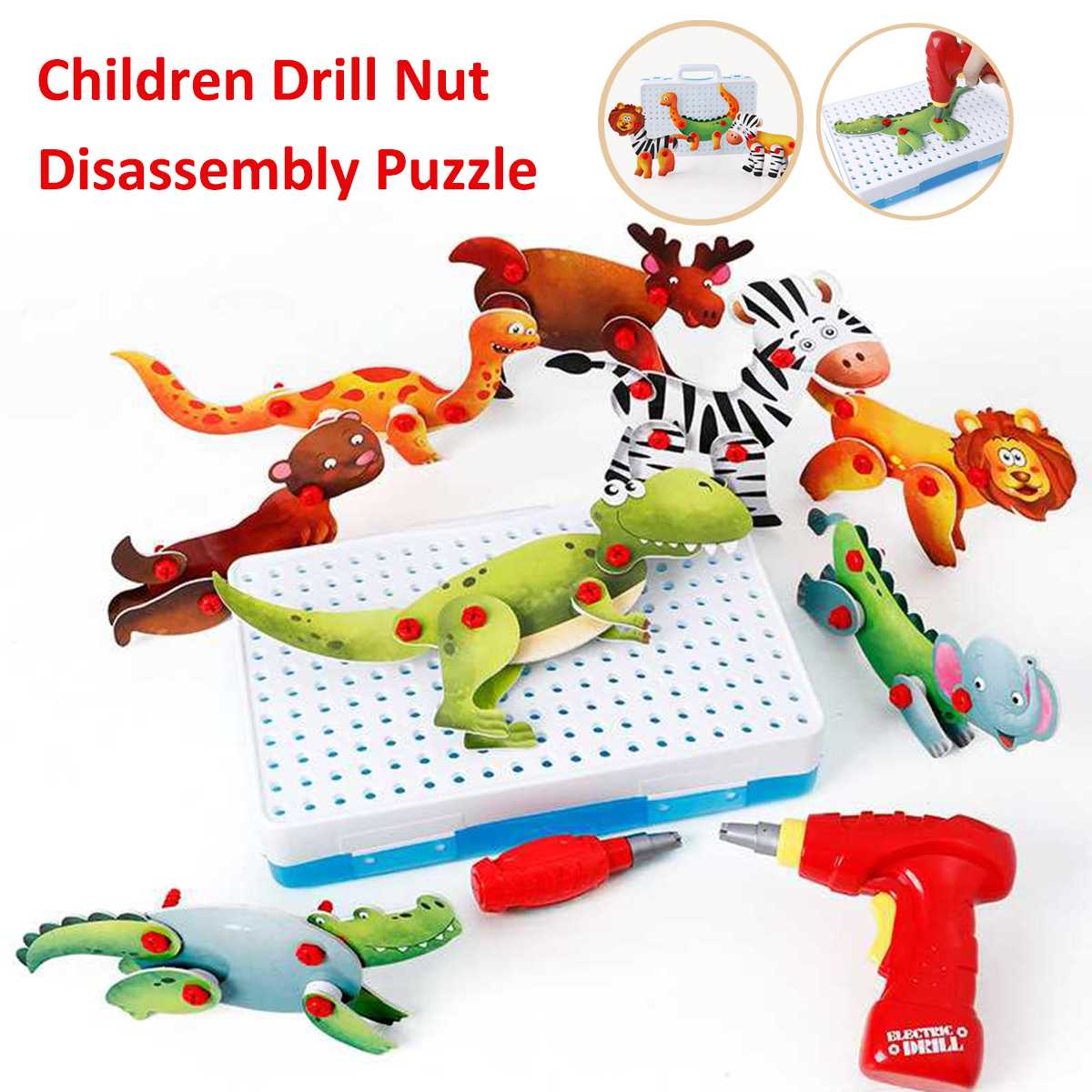 Children Drill Nut Disassembly Match Tool Kid Screwdriver Electric Drill Funny Toy Puzzle Assembled Toys Blocks Sets Kids Gift цена