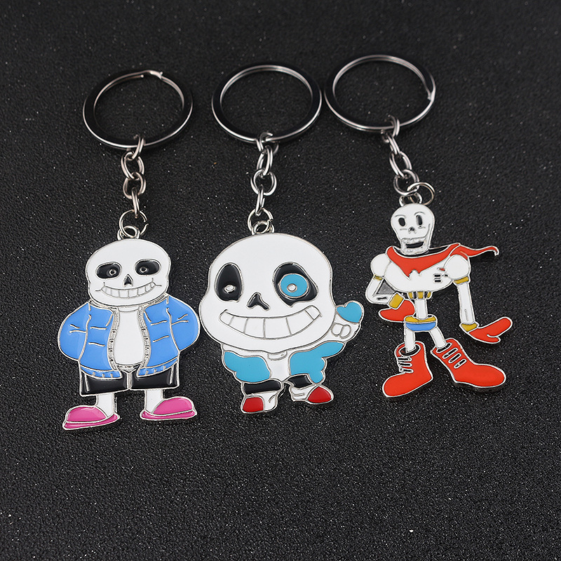 COOL SKELETON Brothers Sans Papyrus Pendant Keychain Sansy Cosplay Accessory Kid Birthday Gift Halloween Christmas New Year Gift