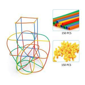 Image 2 - 300 個わらコンストラクタ連動 Enginnering おもちゃストローとコネクタセットキッズ教育おもちゃ