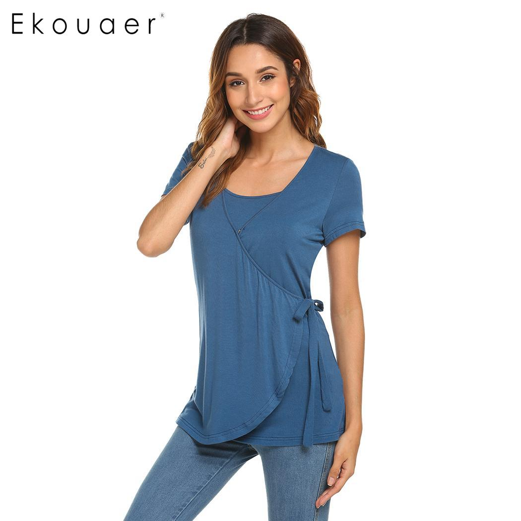 Sleepwear shirt women nightwear solid short sleeve double layers maternity nursing round neck nightshirts homewear