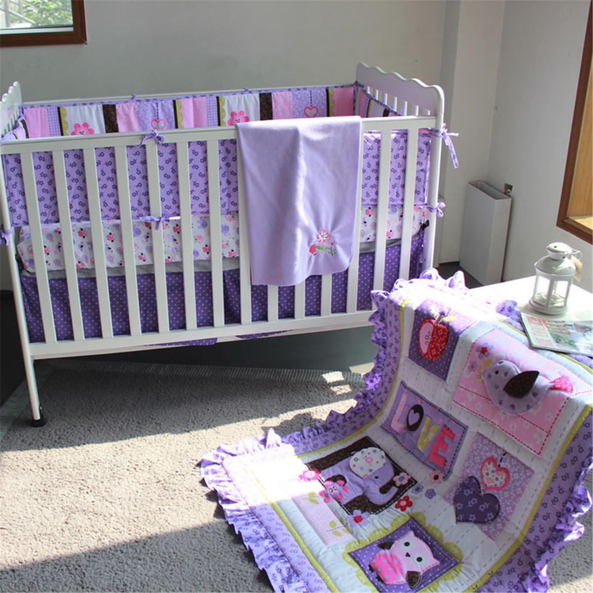 8 Pcs/set Purple Elephant Cotton Polyester Baby Bedding Set Crib Cot Quilt Bumper Sheet Dust Ruffle Bumper Pads Sheets8 Pcs/set Purple Elephant Cotton Polyester Baby Bedding Set Crib Cot Quilt Bumper Sheet Dust Ruffle Bumper Pads Sheets