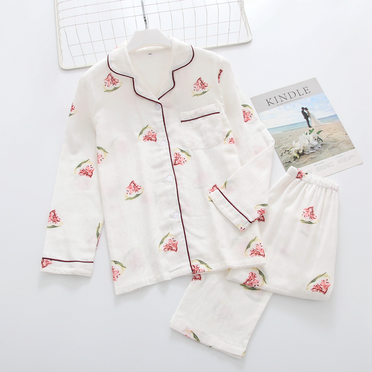 Spring&summer Long Sleeves Cotton Gauze Thin Korean   Pajamas   Girls Loungewear Women Plus Size   Pajamas   Womens   Pajama     Set   2 Suits