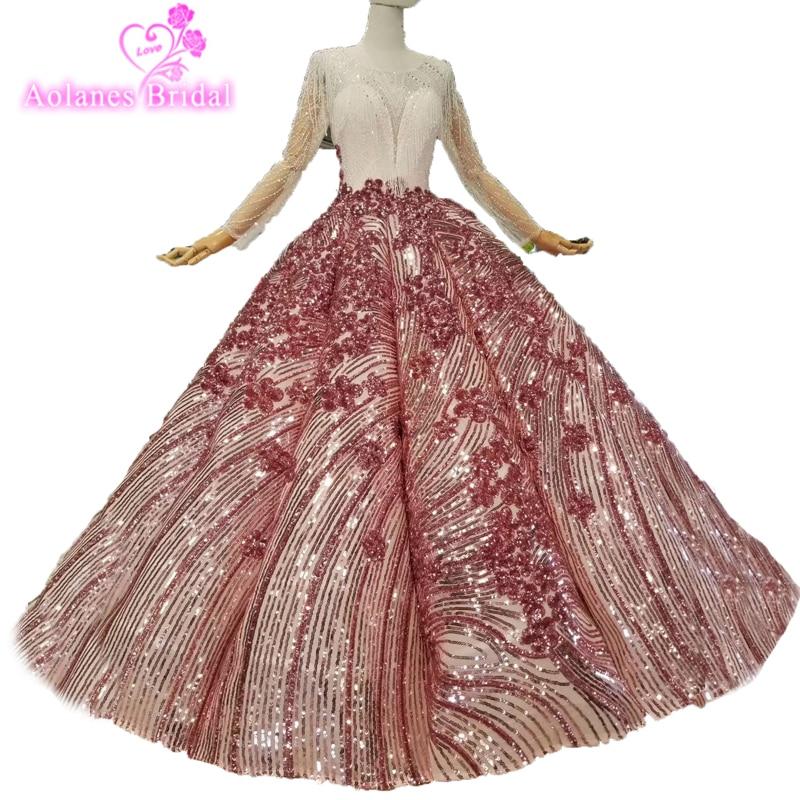 2019 nueva moda vestido De fiesta vestidos De baile Telass 3d flor Floral vestido De noche Formal manga larga cristales fiesta vestidos