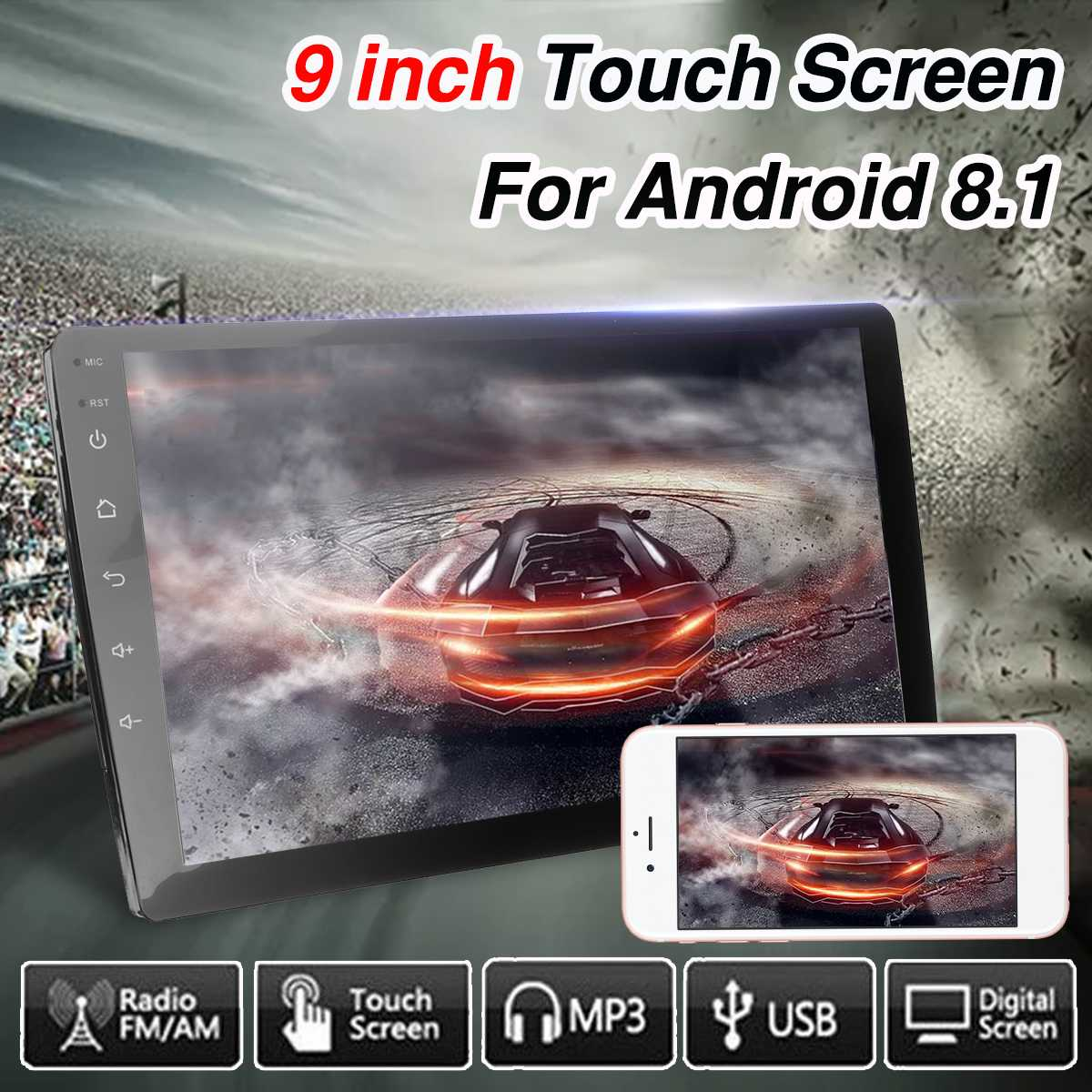 2 DIN 9 Android 8.1 4K Car MP5 Player Quad Core WiFi GPS Navigation DAB FM Radio Touchable Screen Mirrorlink Multimedia Player2 DIN 9 Android 8.1 4K Car MP5 Player Quad Core WiFi GPS Navigation DAB FM Radio Touchable Screen Mirrorlink Multimedia Player