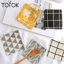 Tofok Drink Coaster Coffee Cup Mat Cotton Cloth Tea Pad Nordic Ins Zakka Geometry Dining Table Placemat Bar Kitchen Accessories