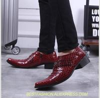 Smart casual shoes men slip on med heel height increasing oxfords pointed toes rivets patent leather red wedding shoes