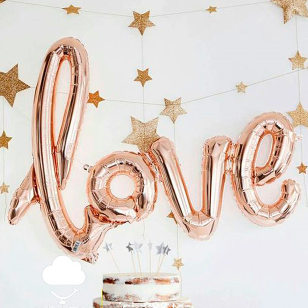 Wedding Decoration LOVE Foil Balloon Valentines Party Red Champagne Bridal Shower Ideas