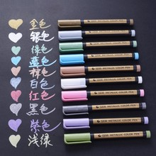 цены STA 10 Colors Metallic Marker Pens for Rock Painting Medium Point Metallic Color Markers for Ceramic Glass Plastic Scrapbooking