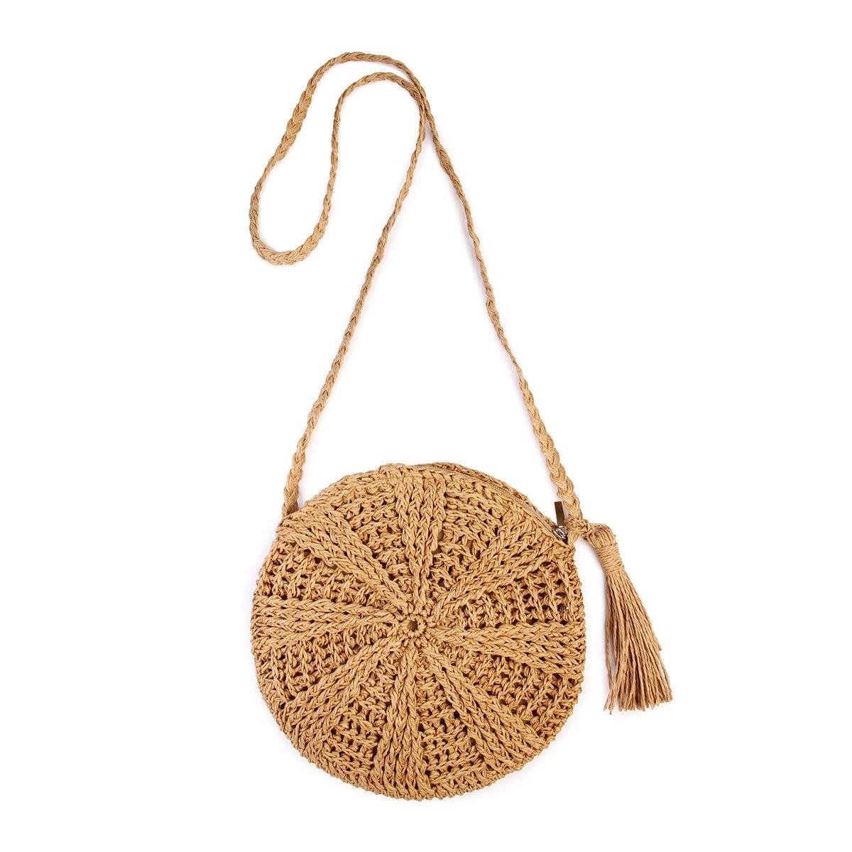 Rattan Crochet Straw Woven Basket Bali Handbag Round Circle Crossbody Shopper Beach Tote Bag Light Brown
