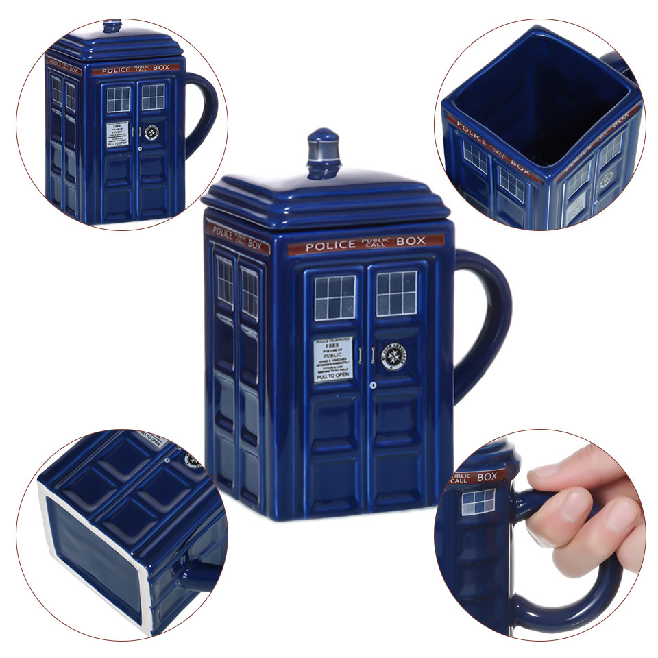 Image 4 - Doctor Who Tardis Police Box Ceramic Mug Cup With Lid Cover For Tea Coffee Mug Funny Creative Gift Christmas Presents Kids Men-in Mugs from Home & Garden