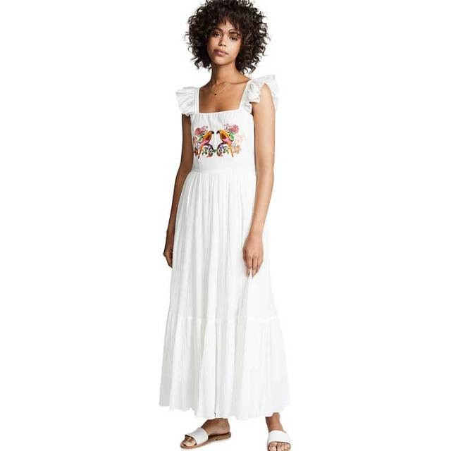 d2f966a7d BOHO INSPIRED white long Dress birds embroidered Square neck Ruffle straps  2019 Spring Summer dress chic causal women dress