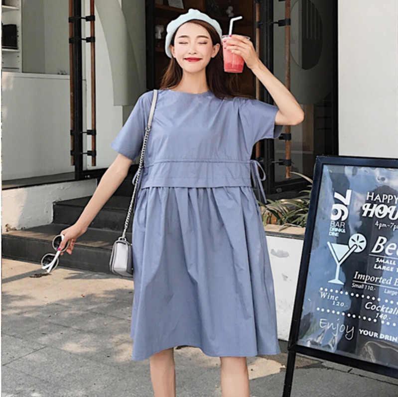 LANMREM 2019 Новое модное женское платье с короткими рукавами и завязками на талии, с круглым воротником, свободная одежда Vestido YG80005