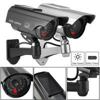 2x Solar Power Fake Camera CCTV Waterproof Realistic Dummy Security Cam Blinking outdoor camera
