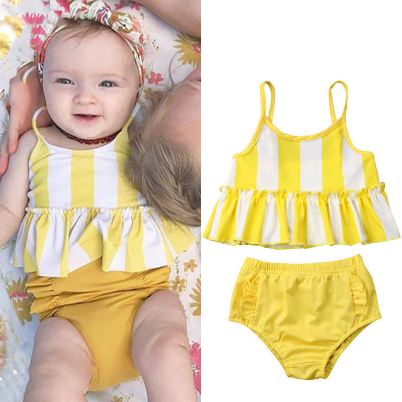 Fashion Kids Baby Girls Summer Swimming Sets Striped Sleeveless Strappy Ruffle Vest Tops Solid Shorts 2pcs Beach Swimwear 6m-5y Lights & Lighting