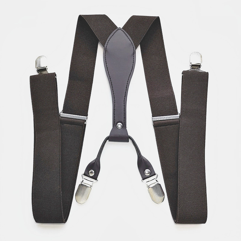 Adult Leather Suspenders 3.5 Cm Width 4 Clips-on Men And Women Braces Elastic Adjustable
