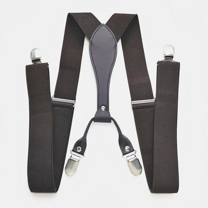 Adult Leather Suspenders 3.5 Cm Width 4 Clips-on Men And Women Braces Elastic Adjustable