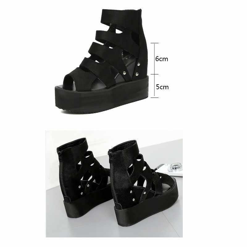 VIGOR FRESHNESS รองเท้าแตะฤดูร้อนผู้หญิงรองเท้ารองเท้าส้นสูงรองเท้าเซ็กซี่เลดี้เพิ่มความสูงรองเท้าแตะโรมรองเท้า WY497