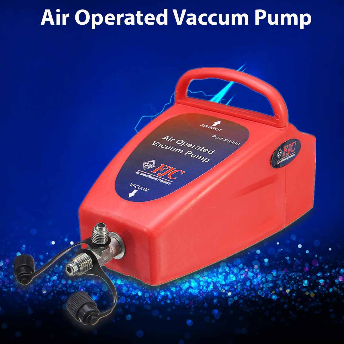 "4.2CFM A/C Air Conditioning System Tool Air Operated Vacuum Pump Auto 1/2"" ACME (R134a) & R12 Connector 80~150PSI Air Pressure(China)"