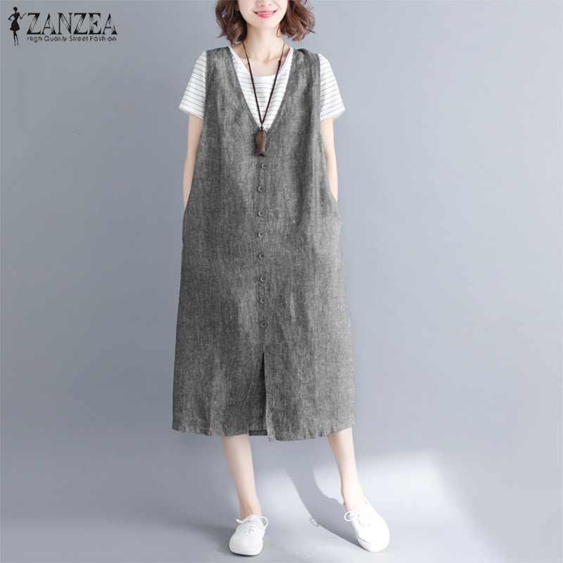 2020 ZANZEA 빈티지 여성 브이 넥 민소매 루즈 오버 올 드레스 여름 우아한 캐주얼 솔리드 탱크 Vestido Baggy Sarafans Dress