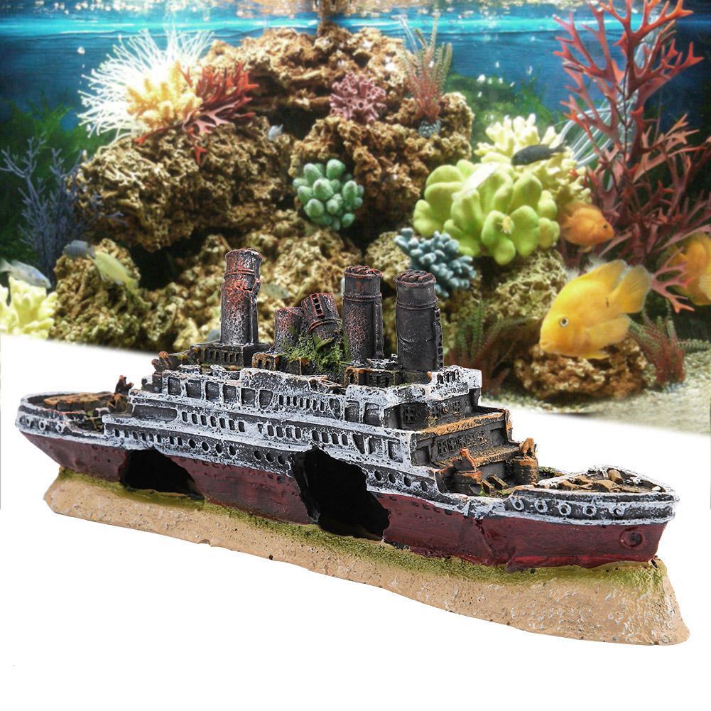 Aquarium Wreck Ornaments Shipwreck Broken Boat Fish Tank Decor  Creative Aquarium Landscape Decor