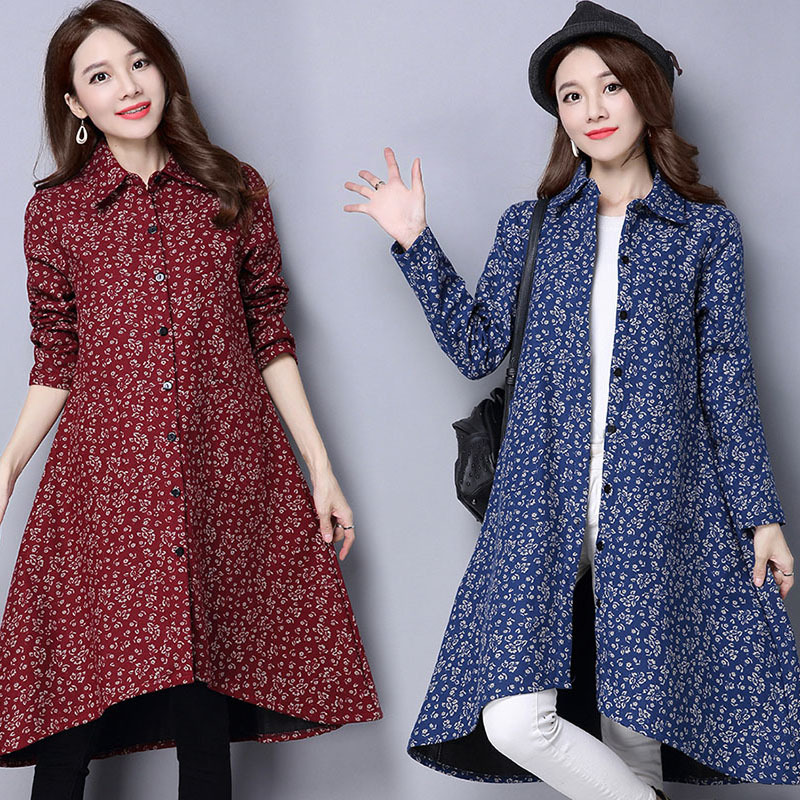BUYKUD Vintage Shirt-Coats 2018 Autumn Winter New Long Sleeve Printed Coat Office Lady Irregular hem Women Button Linen Coats 1