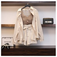 2019 Spring Summer Fashion Women Set Plaid Long Sleeves Shirts Top+ Sexy Vest + Bow Lacing Short Pant Suit 3 Piece Sets