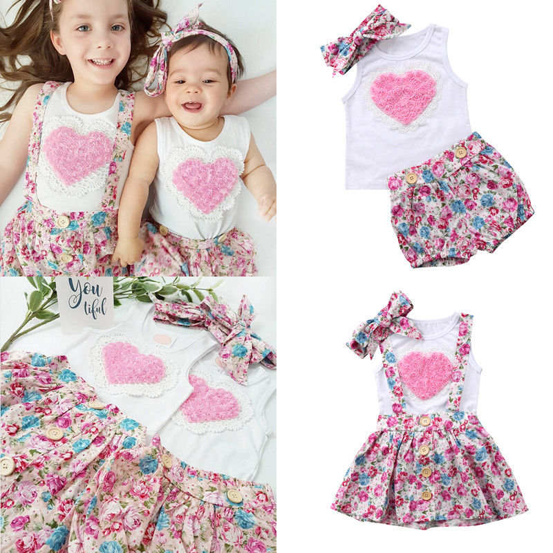 Pudcoco Girls Clothes CA 3PCS Floral Baby Girl Cotton Outfits Clothes T-shirt Top Pants/ Skirts Hairband Sets