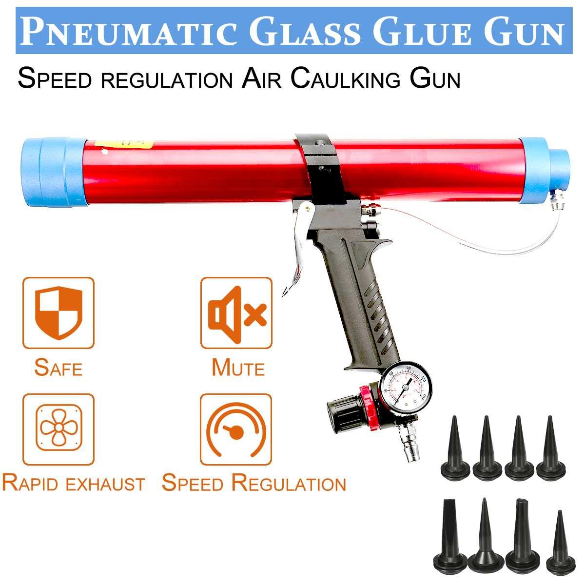 600ml Glass Glue Caulk Guns Air Rubber Pneumatic Caulking Gun Pistol With Pistons Tool Caulking Glass Silicone Tools