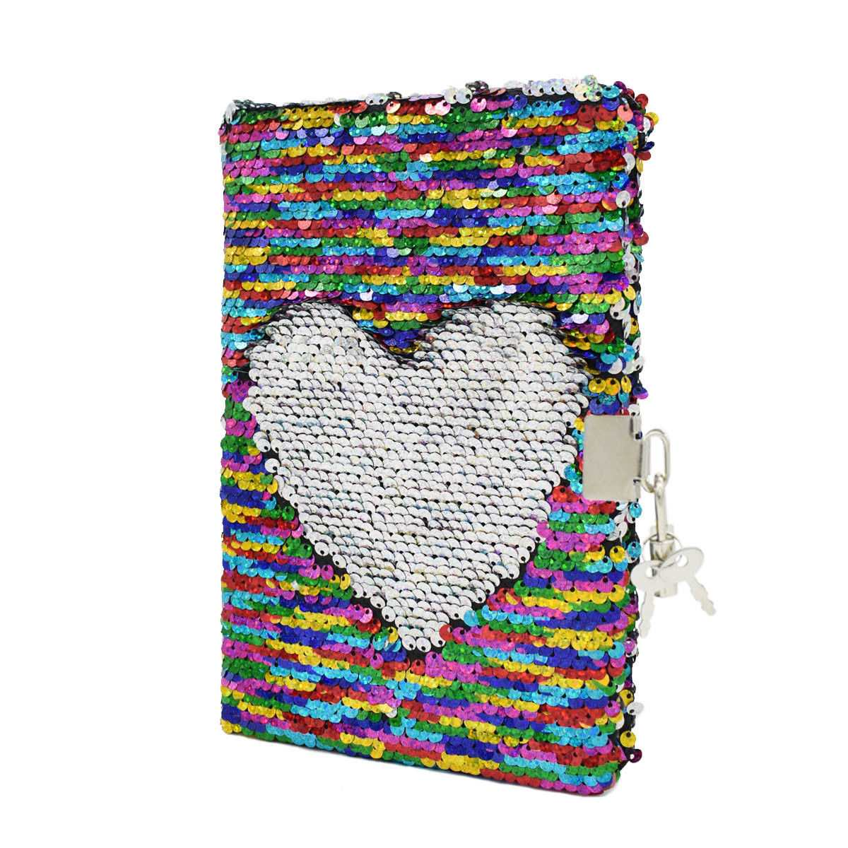 Random Pattern Festival Gifts Reversible Glitter Sequin Journal Office Diary Notebooks School Memos With Lock For Kid Girl Adult