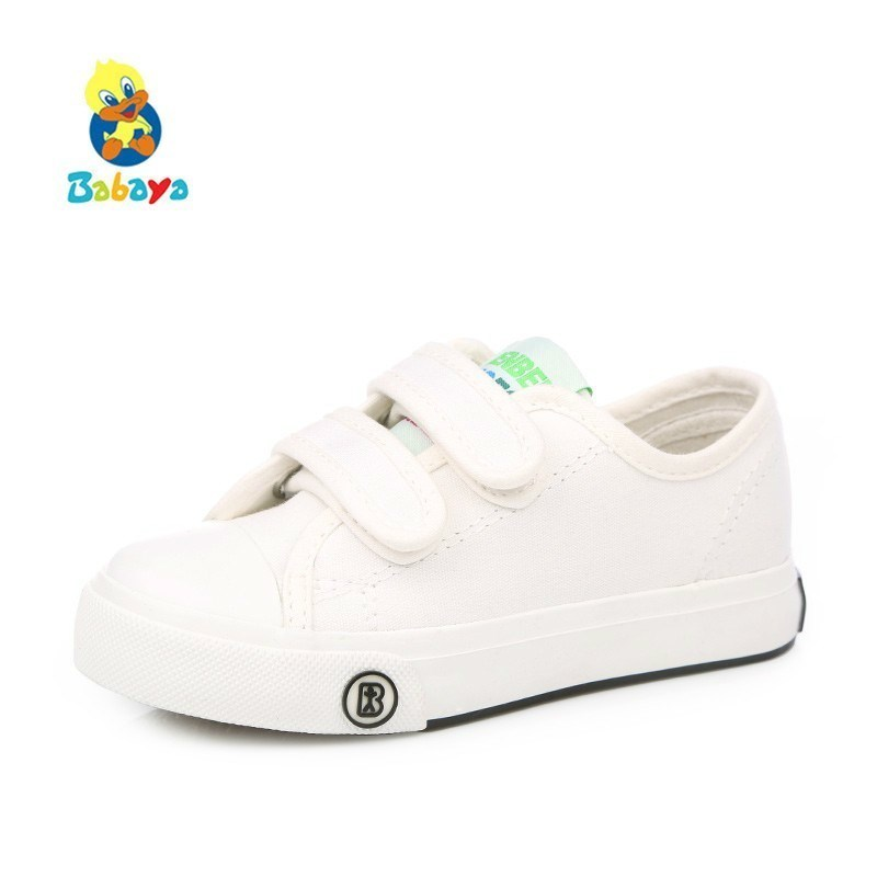 Zapatos de los niños niñas niños zapatos de lona del bebé 2017 Primavera otoño zapatilla de deporte blanca hecha de algodón bebé solo niños zapatos niños zapatos