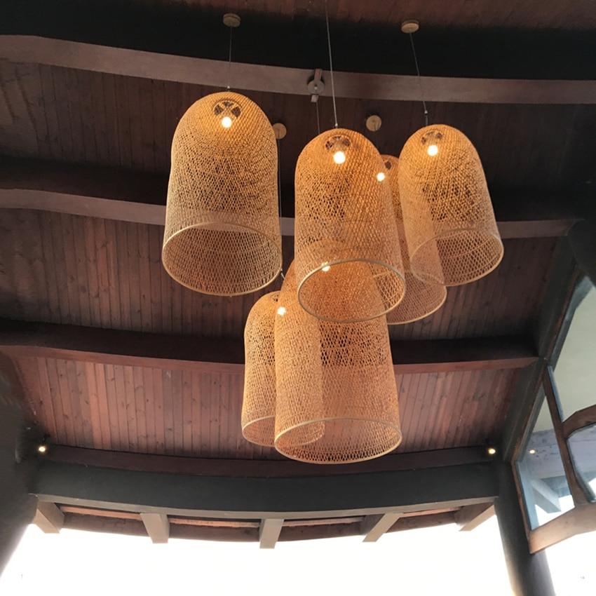 New Chinese Lantern Hotel Tea Staircase Hotel LED Bamboo Pendant Lights Hand Rattan Weaving Wood Pendant Lamp Lighting Luminaire in Pendant Lights from Lights Lighting