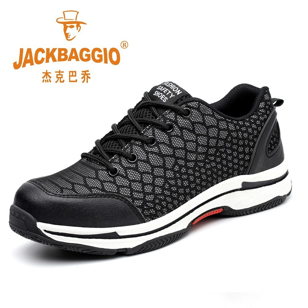 Black Working Shoes Men Safety,breathable Reflective Safety Shoes For Men Steel Toe,Breathable Light Rubber Sole Male Boots.