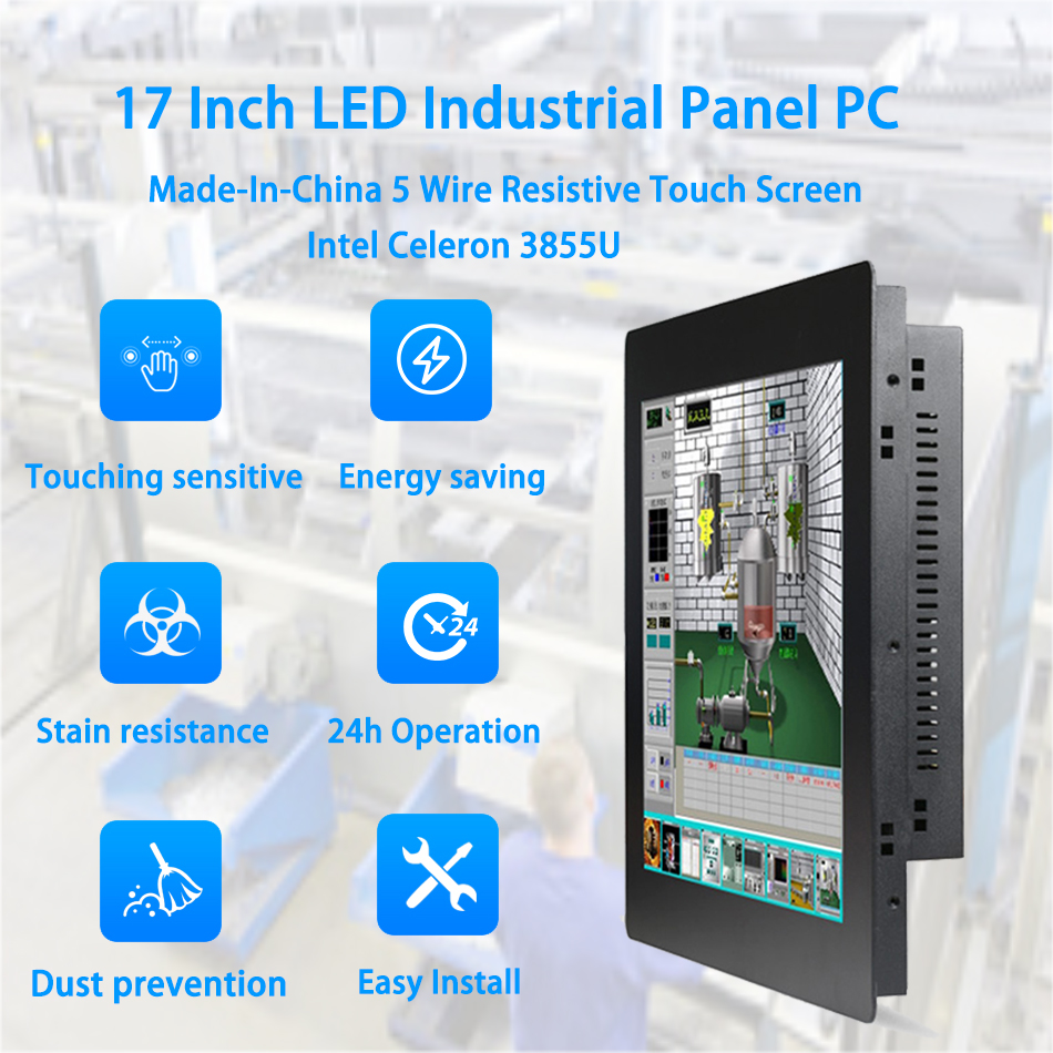 17 Inch LED Panel PC,Industrial Panel PC,5 Wire Resistive Touch Screen,Intel 3855U,Windows 7/10/Linux Ubuntu,[HUNSN DA05W]