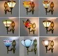 Glasmalerei Lampenschirm Batterfly Pyramide Kunst Wand Lampe Led Nacht Studie Asile Wand Montiert Lampe Oben Oder Unten Beleuchtung-in LED-Innenwandleuchten aus Licht & Beleuchtung bei