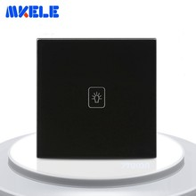 EU Standard Touch Switch Black Crystal Glass Panel 1 Gang 1 Way Light Switch Touch Screen Wall Switch Wall Socket For Lamp