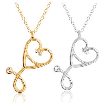 LNRRABC 2018 new Golden Nursing Stethoscope Women Gifts 1pc Fashion Alloy Necklace Jewelry Doctor Heart Medical Medicine Pendant