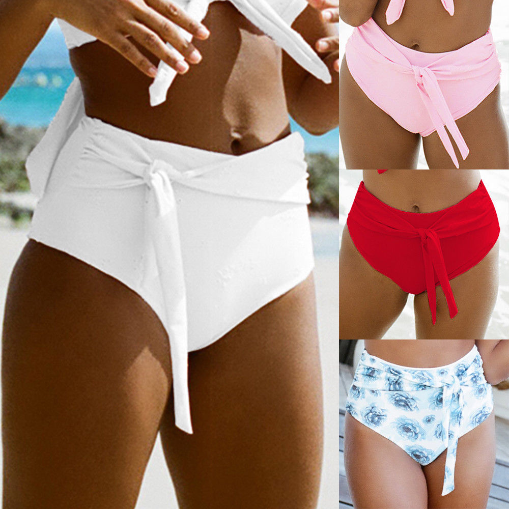 Women Plus Size XL Bikini Bottom Bikini Floral Shorts Sporty Panty High Waist Swimwear Bathing Suit Beach Swim BandageBriefs