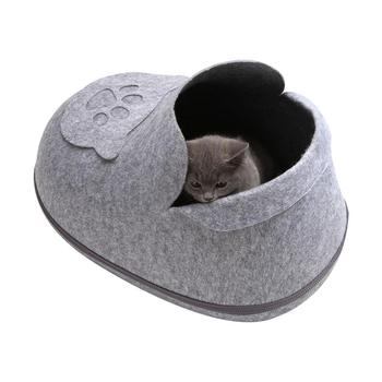 2019 New Cute Pet Bed Cat Dog Nest Winter Warm Washable Pet House Cat Litter Shoes Shape Pet Nest Kennel with Soft Mat Cat Cave image