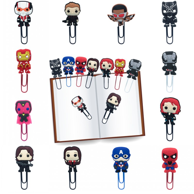 1pcs Marvel Avenger Bookmarks For Books Action Icon Paper Clips For Students Teacher School Office Page Holder Kids Gift