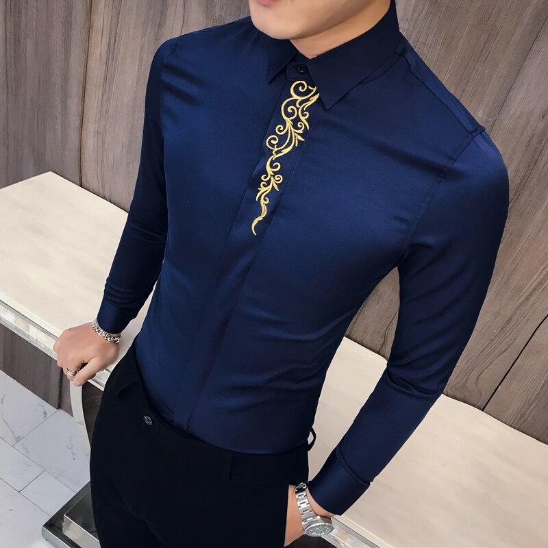 Spring Embroidered Slim Fit Long Sleeve Shirt Men Social Club Prom Shirt Camisa Masculina Luxury Korean Shirt Men Kemeja Pria