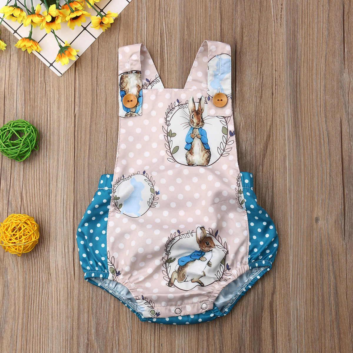 Pudcoco New Nhãn Hiệu Sơ Sinh Bé Trai Bé Gái Easter Bunny Bodysuit Jumpsuit Trang Phục Bộ Sunsuit