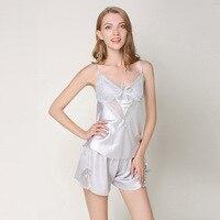 2019 Summer Sexy Women's Pajama Set Lace Pyjamas Daily Home Style Sleep Suits 2 Piece Sleepwear Indoor Clothes